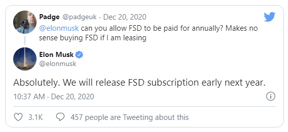 Fsd tweet elon subscription