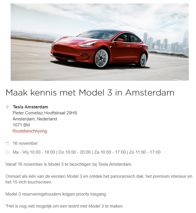 Tesla Model 3 event in Amsterdam