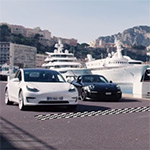 Porsche GT2 RS versus de Model 3 in Monaco